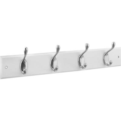 Stanley 18 In. Satin Nickel/White Hook Rail
