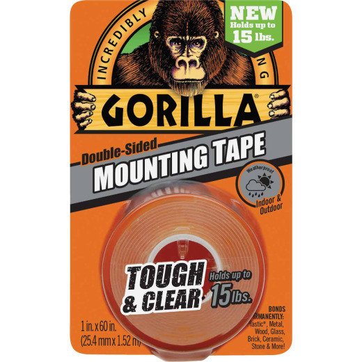 Gorilla 1 In. x 60 In. Tough & Clear Double-Sided Mounting Tape (15 Lb. Capacity)
