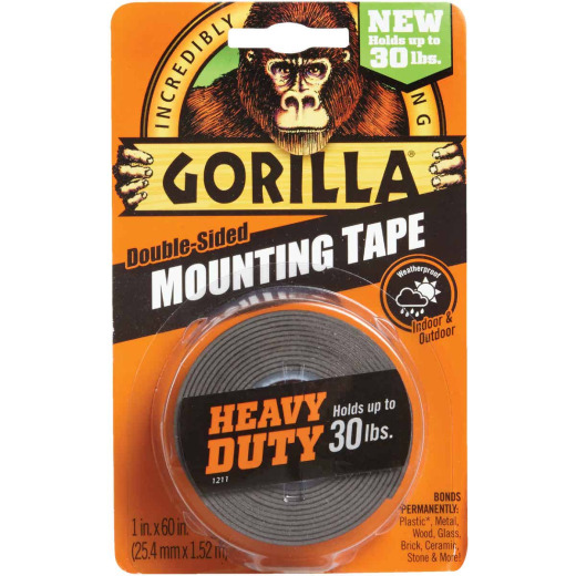 Gorilla 1 In. x 60 In. Black Heavy Duty Double-Sided Mounting Tape (30 Lb. Capacity)