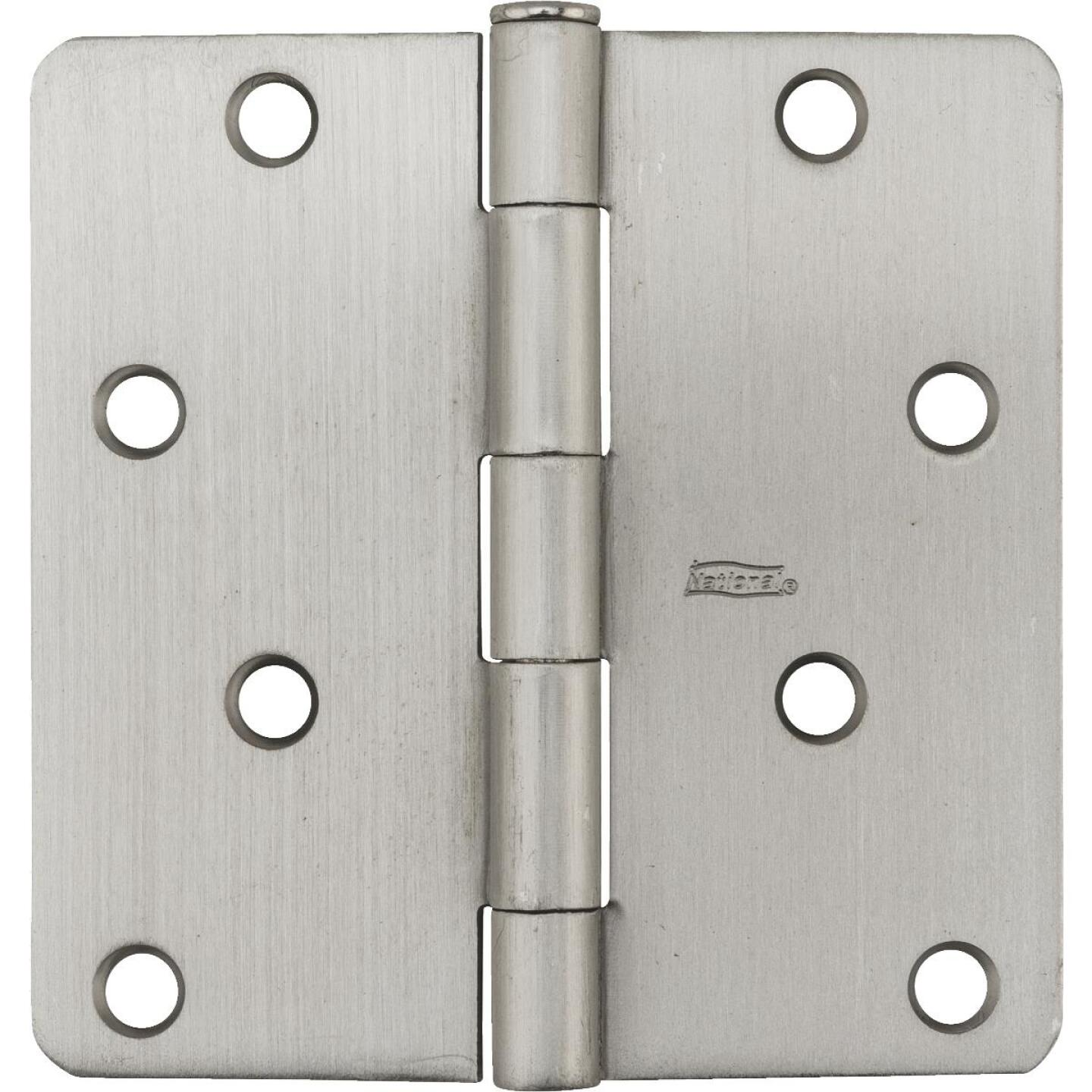National 4 In. x 1/4 In. Radius Satin Nickel Door Hinge Image 2