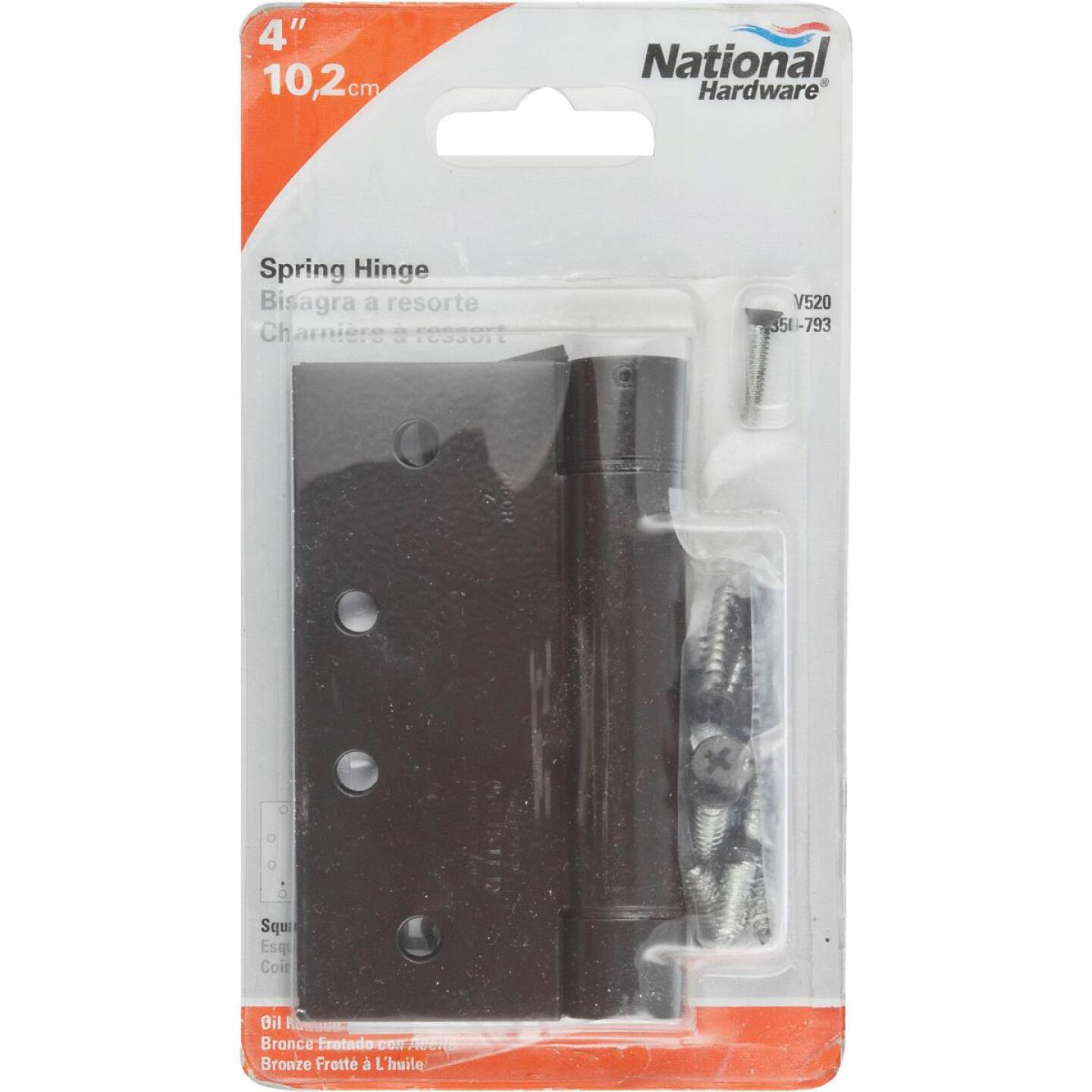National 4 In. Oil Rubbed Bronze Square Spring Door Hinge Image 2