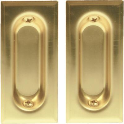 Johnson Hardware 3-3/8 In. Rectangular Brass Flush Pocket Door Pull (2-Count)