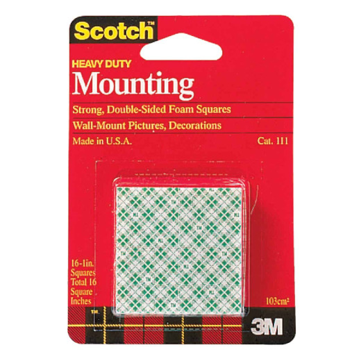 3M Scotch 1 In. x 1 In. Permanent Mounting Squares (16-Pack)