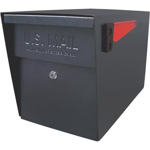 Mail Boss Black Steel Locking Security Post Mount Mailbox