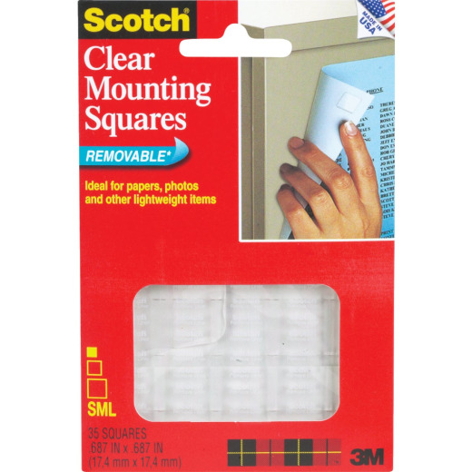 3M Scotch 0.68 In. x 0.68 In. 1 Lb. Capacity Removable Mounting Squares (35-Pack)