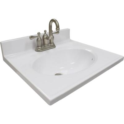Modular Vanity Tops 19 In. W x 17 In. D Solid White Cultured Marble Vanity Top with Oval Bowl