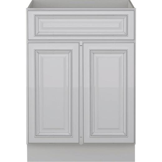 Sunny Wood Riley White with Dover Glaze 24 In. W x 34-1/2 In. H x 21 In. D Vanity Base, 2 Door