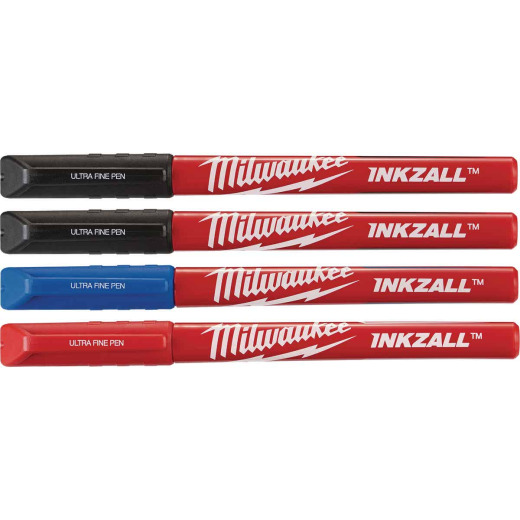 Milwaukee INKZALL Ultra Fine Point Various Color Job Site Pen (4-Pack)