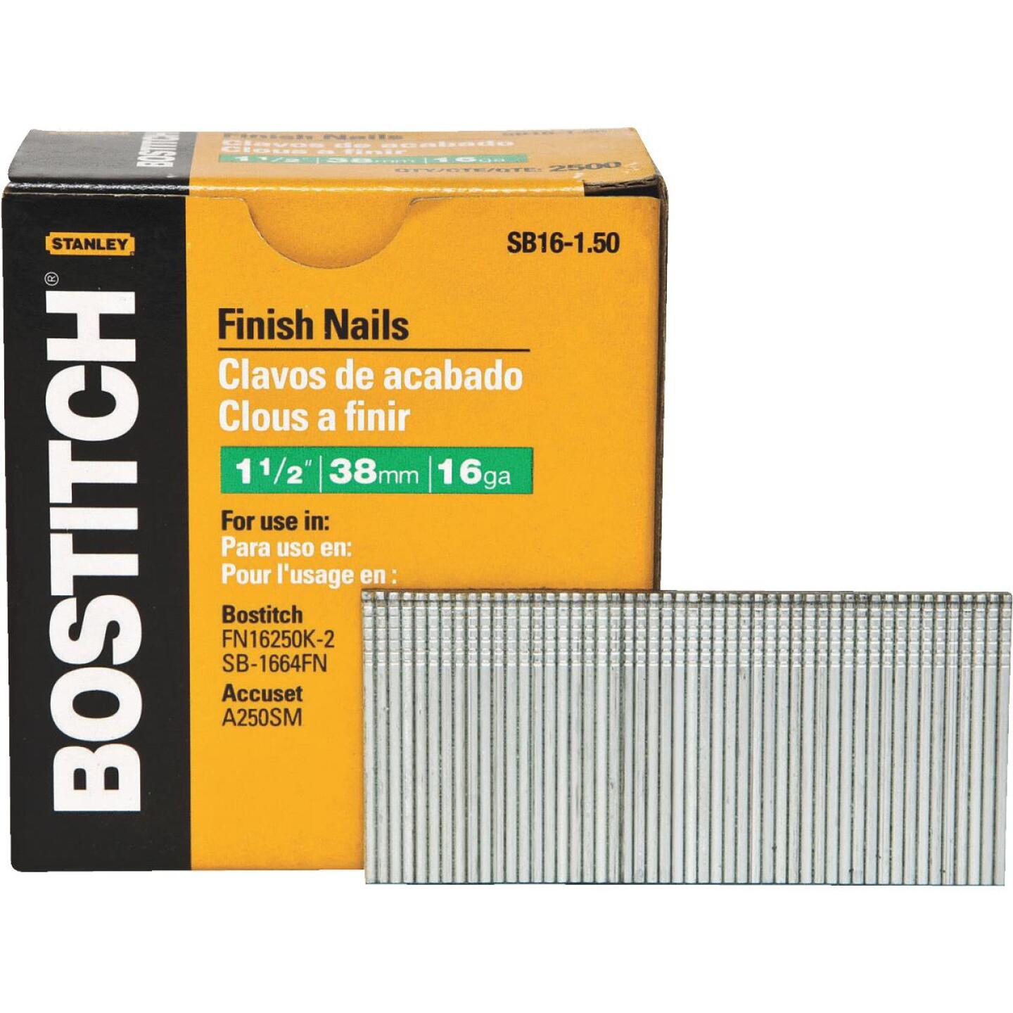 Bostitch 16-Gauge Coated Straight Finish Nail, 1-1/2 In. (2500 Ct.) Image 1