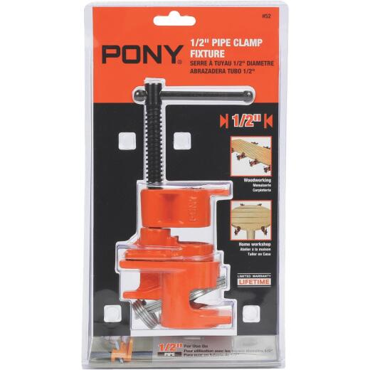 Pony 1/2 In. Pipe Clamp Fixture with Sliding Pin Handle for Black Pipe