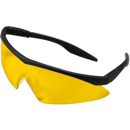 Safety Works Straight Temple Black Frame Safety Glasses with Anti-Fog Amber Lenses