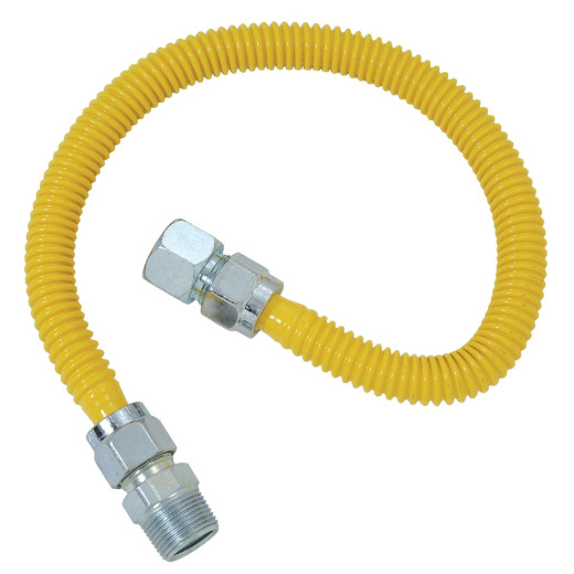 Dormont 5/8 In. OD x 48 In. Coated Stainless Steel Gas Connector, 3/4 In. FIP x 3/4 In. MIP (Tapped 1/2 In. FIP)