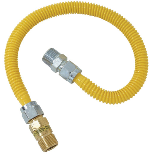 Dormont 5/8 In. OD x 48 In. Coated Stainless Steel Gas Connector, 1/2 In. MIP (Tapped 3/8 In. FIP) x 1/2 In. MIP SmartSense