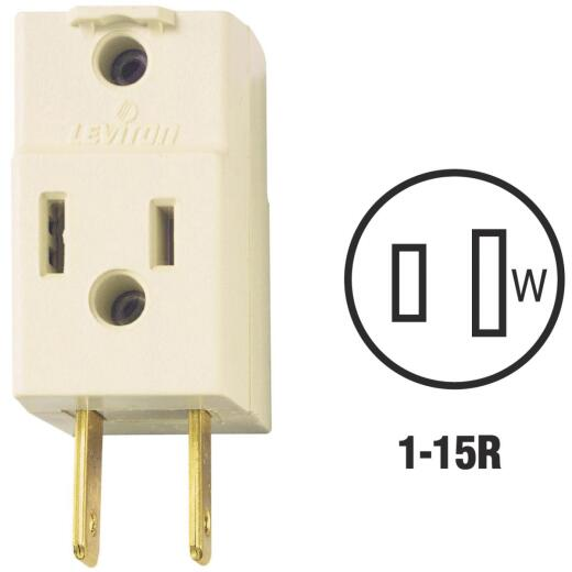 Leviton Ivory 15A 3-Outlet Cube Tap