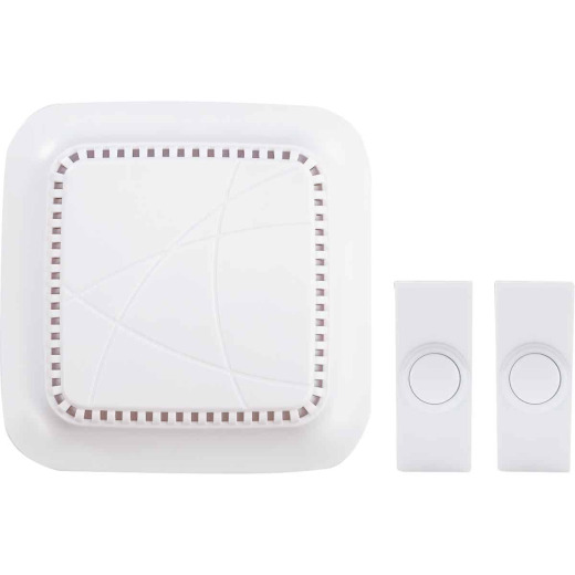 Heath Zenith Battery Operated White Wireless Door Chime Kit