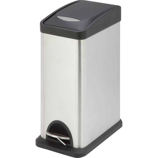 Honey Can Do 8 Liter Satin Stainless Steel Step-On Wastebasket
