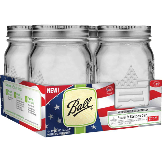 Ball Pint Regular Mouth Stars & Stripes Keepsake Canning Jar (4-Count)
