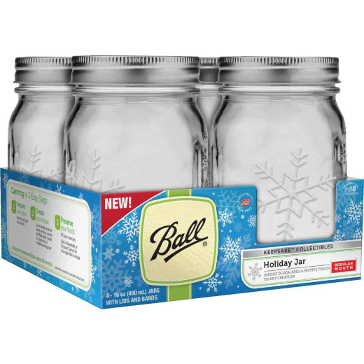 Ball Pint Regular Mouth Holiday Keepsake Canning Jar (4-Count)
