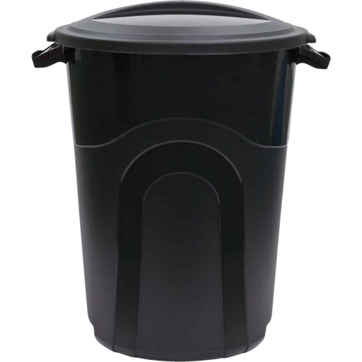 United Solutions Rough & Rugged 20 Gal. Black Trash Can with Lid