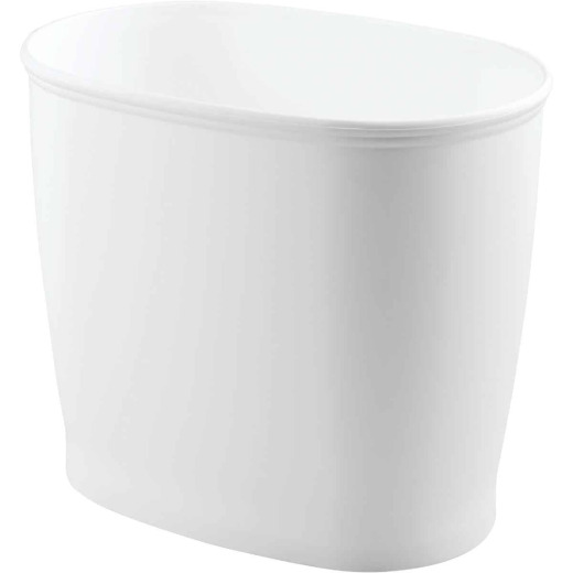 iDesign Kent 2 Gal. White Oval Wastebasket