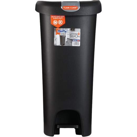 Hefty 12 Gal. Black Lid Lock Step-On Wastebasket