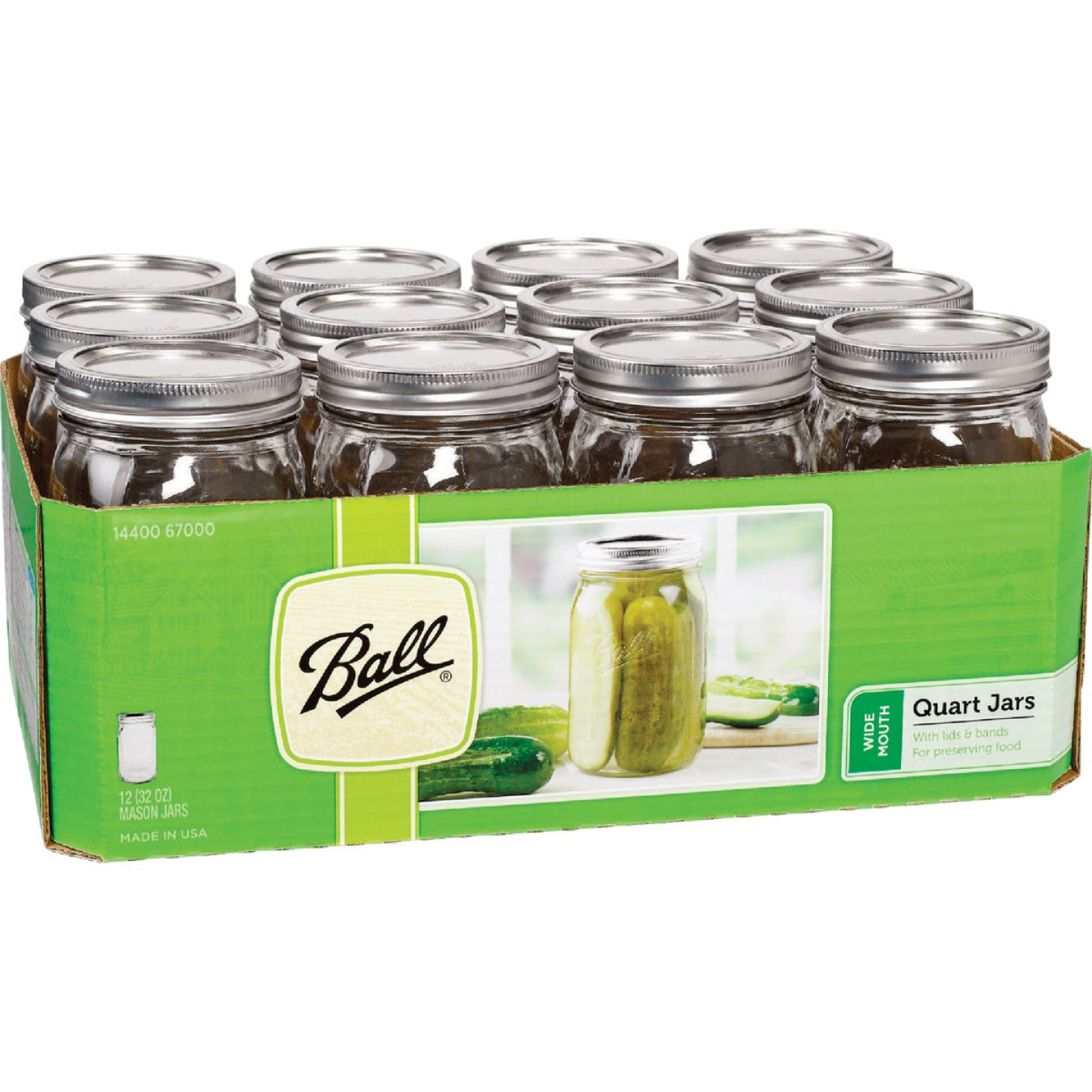 Ball 1 Quart Wide Mouth Mason Canning Jar (12-Count) Image 1