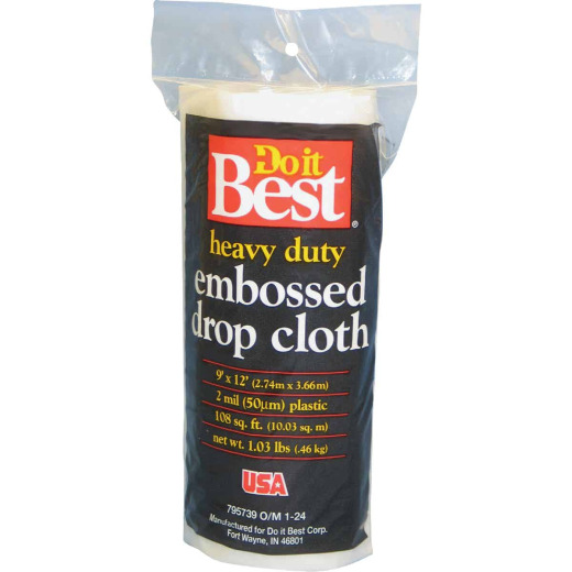 Do it Best Embossed Plastic 9 Ft. x 12 Ft. 2 mil Drop Cloth