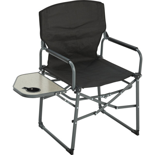 Outdoor Expressions Black Polyester Director Camp Folding Chair with Side Table