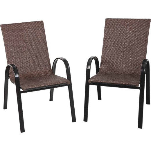Outdoor Expressions Brown Wicker Stacking Chair